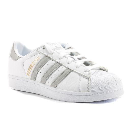 ▷ Sneaker Bassa Donna Adidas SUPERSTAR-B42002 pelle bianco-grigio online  4542d3d932f
