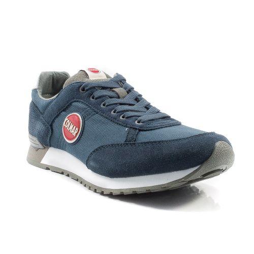 ▷ Sneaker Bassa Uomo Colmar TRAVIS-COLORS-005 tessuto-camoscio blu-grigio  online  02f1a90a615