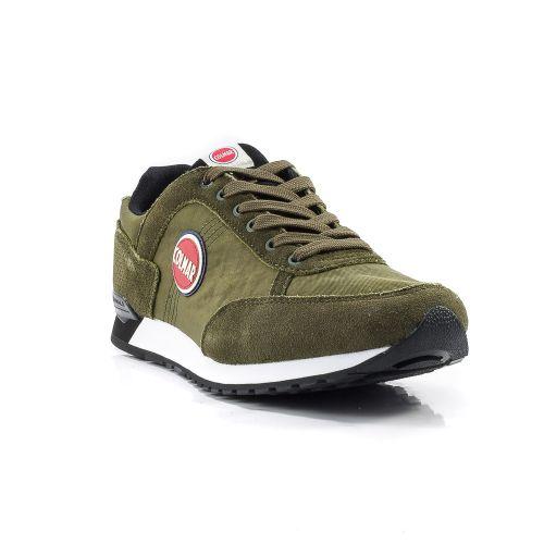 ▷ Sneaker Bassa Uomo Colmar TRAVIS-COLORS-018 tessuto-camoscio verde  militare -45% online  b1999af1517