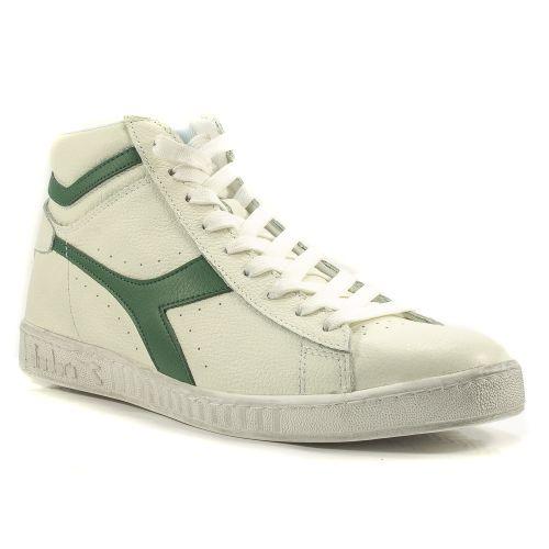 ▷ Sneaker Alta Uomo Diadora GAME-HIGH-WAXED pelle bianco-verde -30 ... 48fbb659a88